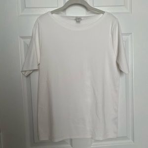 J by JCrew White Perfect Fit Open Neck Shirt - XL